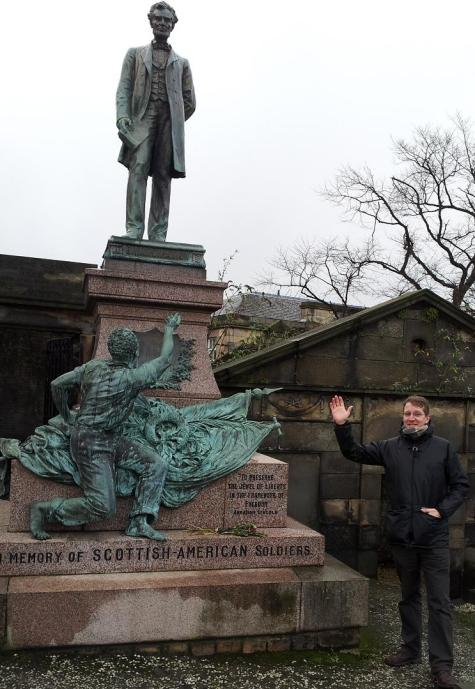 Dave at the Calton Cemetery, Edinburgh beside the monument of President Lincoln dedicated to the Scottish soldiers who fought for the Union in the American Civil War.  A slave freed by the Union and the passing of the 13th amendment to the US constitution is shown below